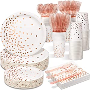 White & Rose Gold Party Supplies - 350 PCS Disposable Dinnerware Set - White Paper Plates Napkins Cups Rose Gold Plastic Forks Knives Spoons for Birthday Halloween Baby Bridal Shower Wedding Party