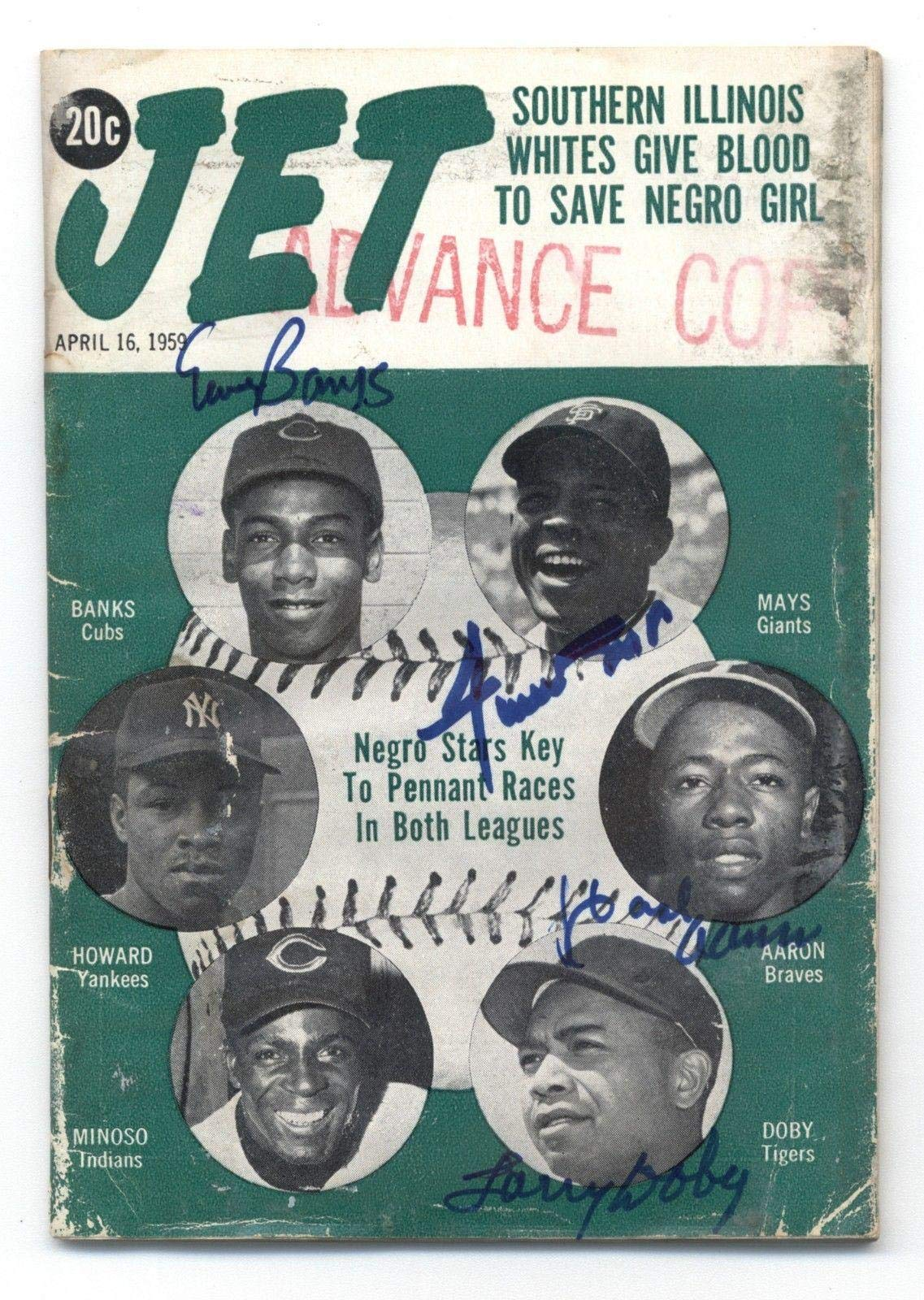 Willie Mays/Ernie Banks/Hank Aaron/Larry Doby Signed 1959 Jet Magazine JSA Certified Autographed MLB Magazines