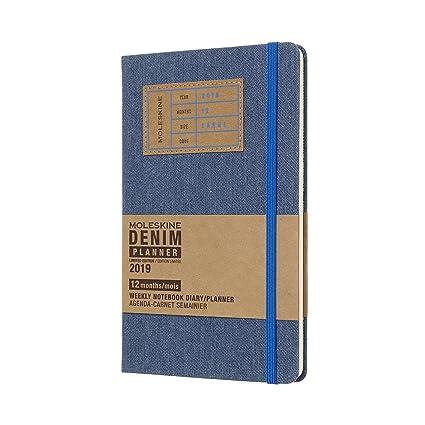 Moleskine DDN12WN3Y19 - Libreta semanal 12m de edición limitada en tela vaquera, grande, color azul