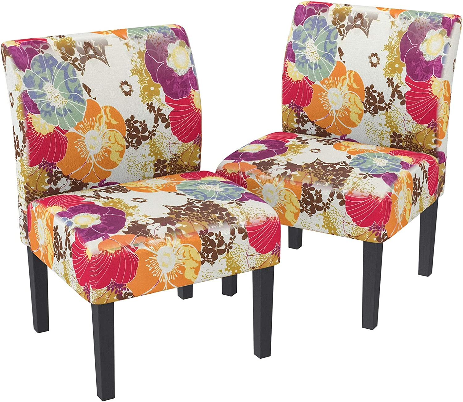 Amazon Com Mecor Modern Armless Accent Chairs Set Of 2 Upholstered Fabric Dining Chairs W Solid Wood Legs For Dining Living Room Sofa Floral Multicolor Chairs