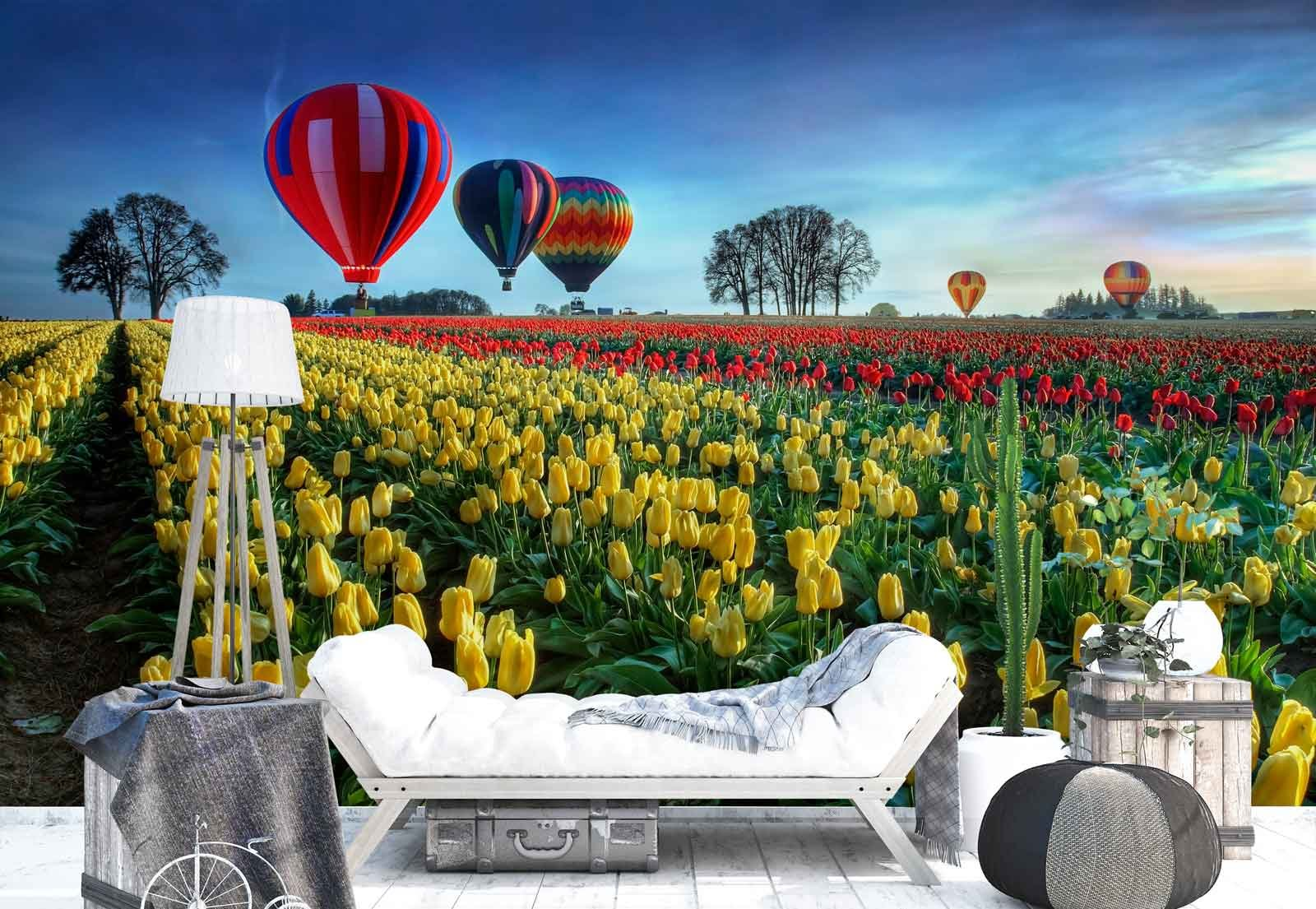 Photo wallpaper wall mural - Tulips Plantage Hot Air Balloons - Theme Sport & Hobbies - XL - 12ft x 8ft 4in (WxH) - 4 Pieces - Printed on 130gsm Non-Woven Paper - 1X-52201V8
