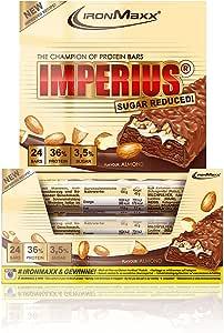 IronMaxx Imperius Sugar Proteína Reducida 24 Barras, Almendra ...