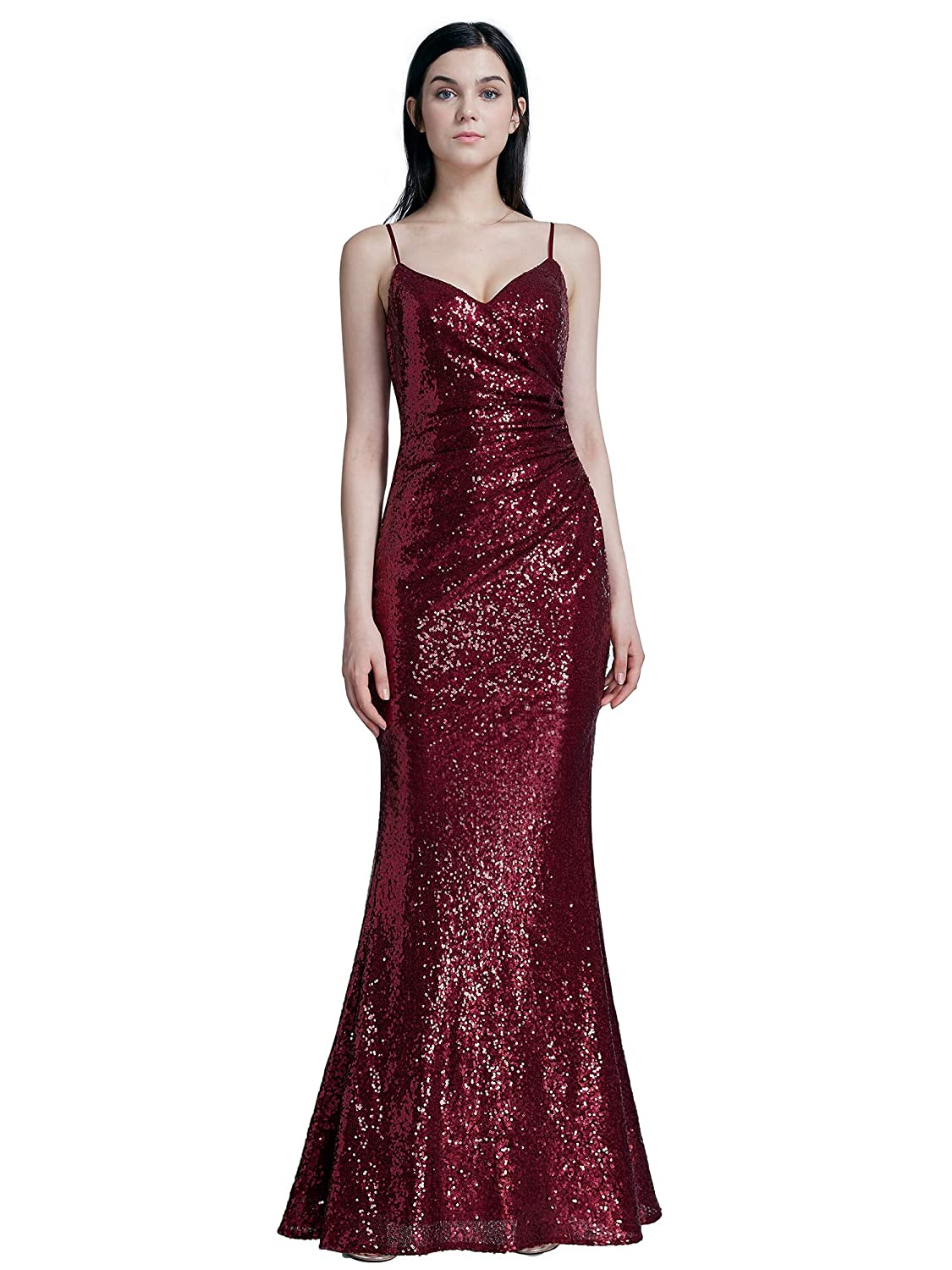 Ever Pretty Womens Spaghetti Straps Long Sequin Mermaid Party Evening Dresses 07087: Amazon.co.uk: Clothing