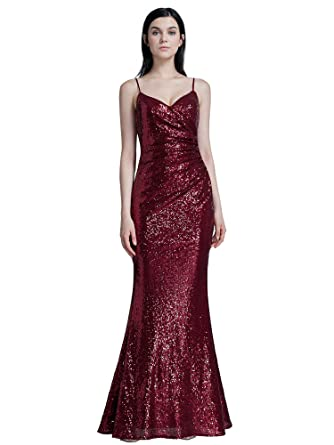 Ever Pretty Womens Adjustable Spaghetti Straps V Neck Floor Length Bodycon Long Sequins Sparkling Evening Dresses