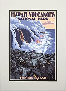 product image for The Big Island, Hawaii - Lava Flow Scene (11x14 Double-Matted Art Print, Wall Decor Ready to Frame)