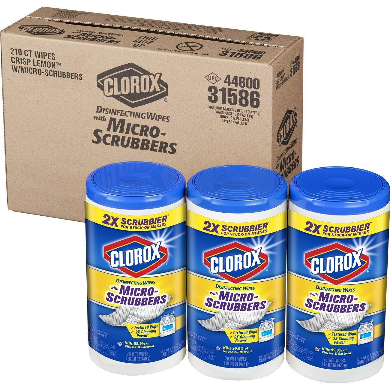 Clorox Disinfecting Wipes with Micro-Scrubbers, Bleach Free Cleaning Wipes - Crisp Lemon, 70 Count Each (Pack of 3) by Clorox (Image #10)