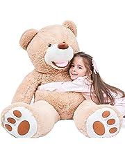 IKASA 100cm Giant Teddy Bear with Big Footprints Plush Stuffed Animals Light Brown