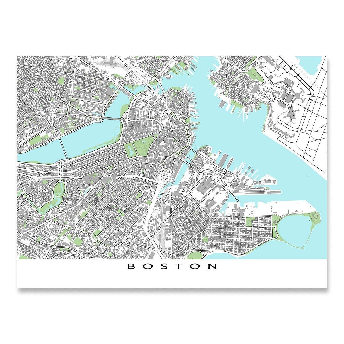 Amazon.com: Boston Map Print, Massachusetts USA, City Street Wall ...