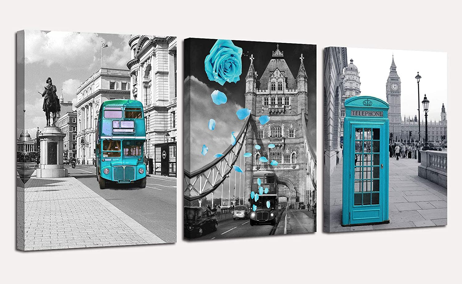 "Canvas Wall Art Teal London Cityscape Blue Rose Pictures Bus City View Painting, Turquoise Modern 16""x20"" x3 Panels Romantic Artwork Framed for Bedroom Living Room Kitchen Wall Decor"