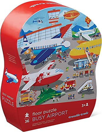 Crocodile Creek 4076-4 Busy Airport Observational Jigsaw Floor Puzzle (36 Pieces), 27 x 20, Blue/Green/Orange/Red/Pink