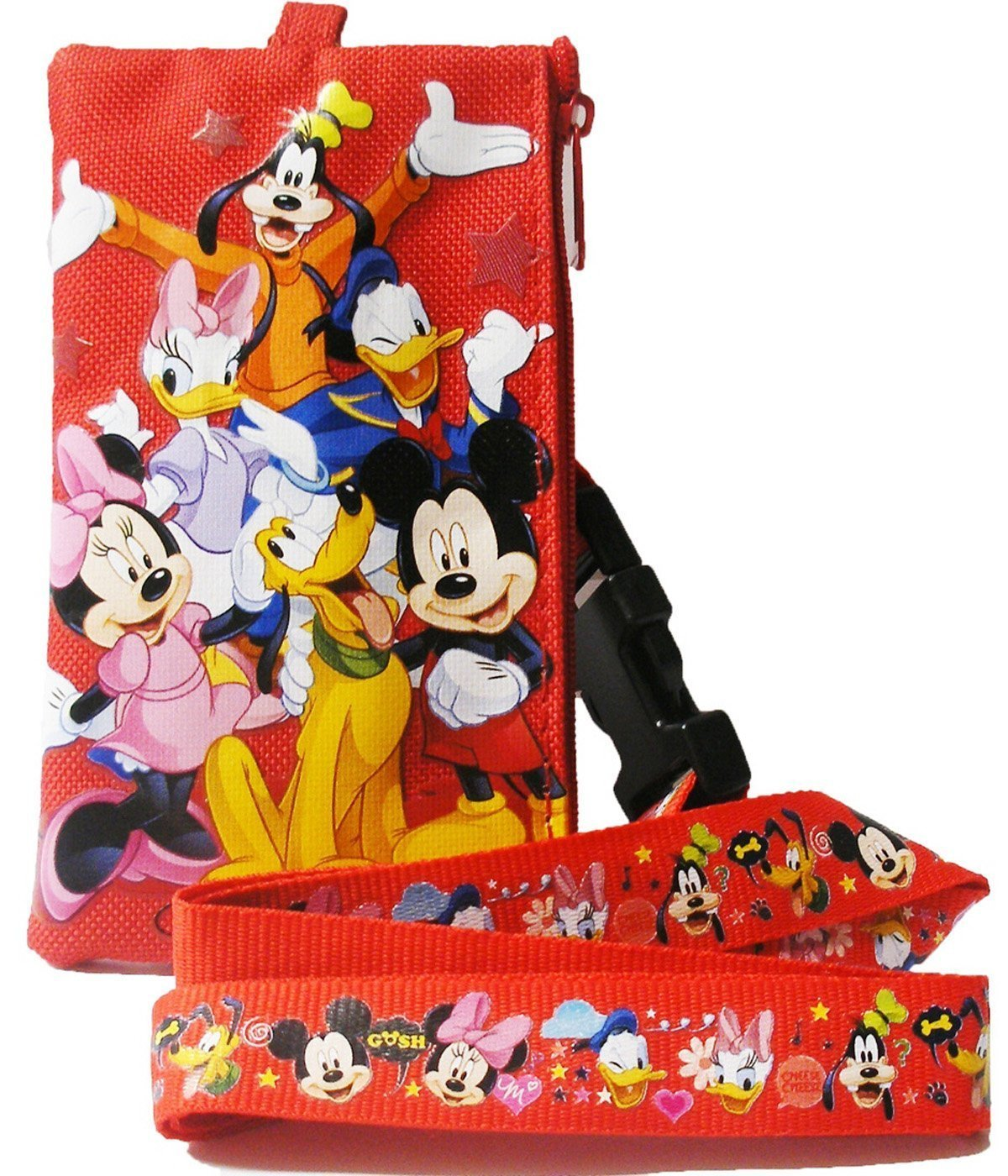 Disney Mickey Mouse & Friends Long Red Lanyard w/ Zippered Pouch