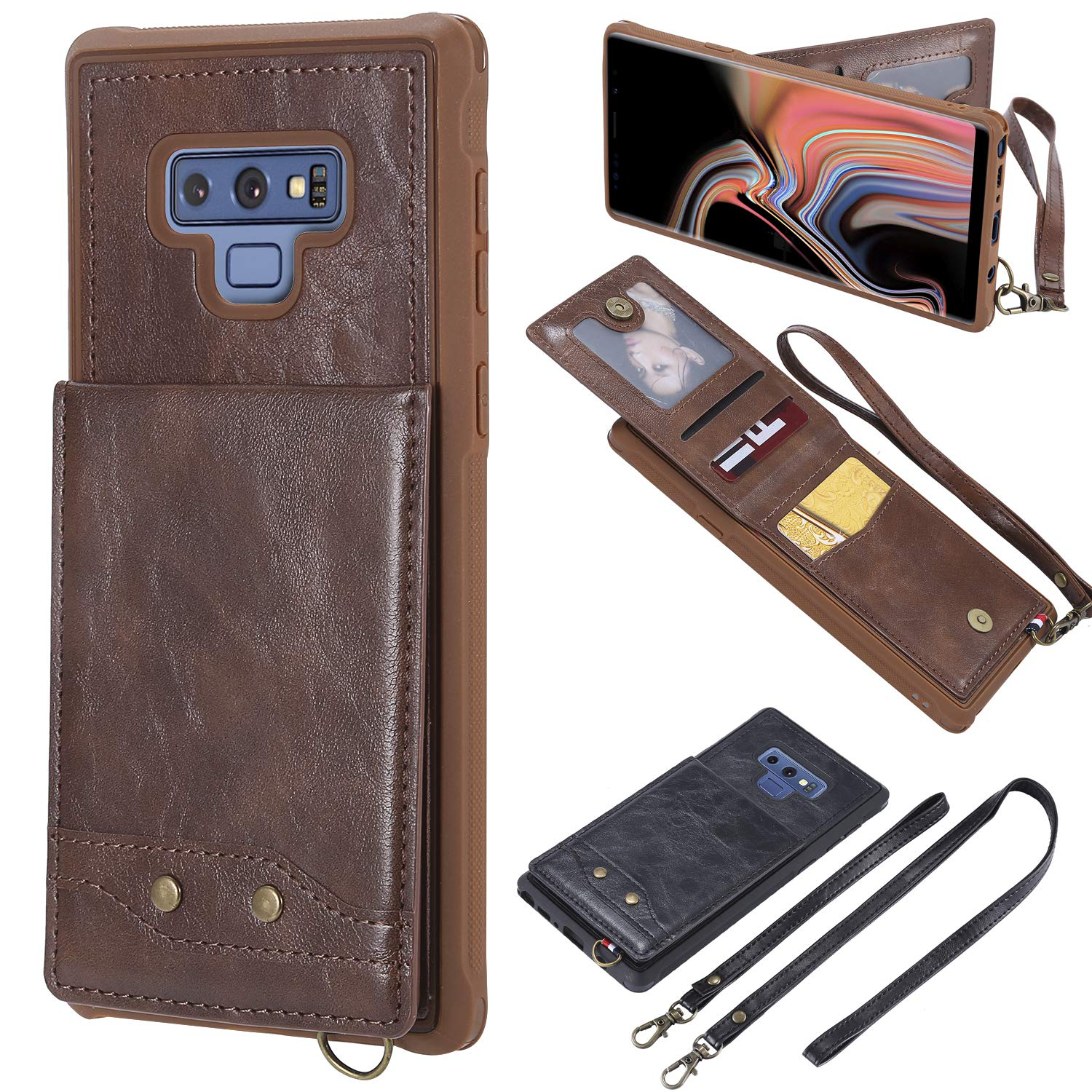 Shinyzone Leather Back Case for Samsung Galaxy Note 9,Removable Wrist Strap & Neck Strap Metal Buckle Premium PU Flip Wallet Case with Card Holder Cover for Samsung Galaxy Note 9,Coffee