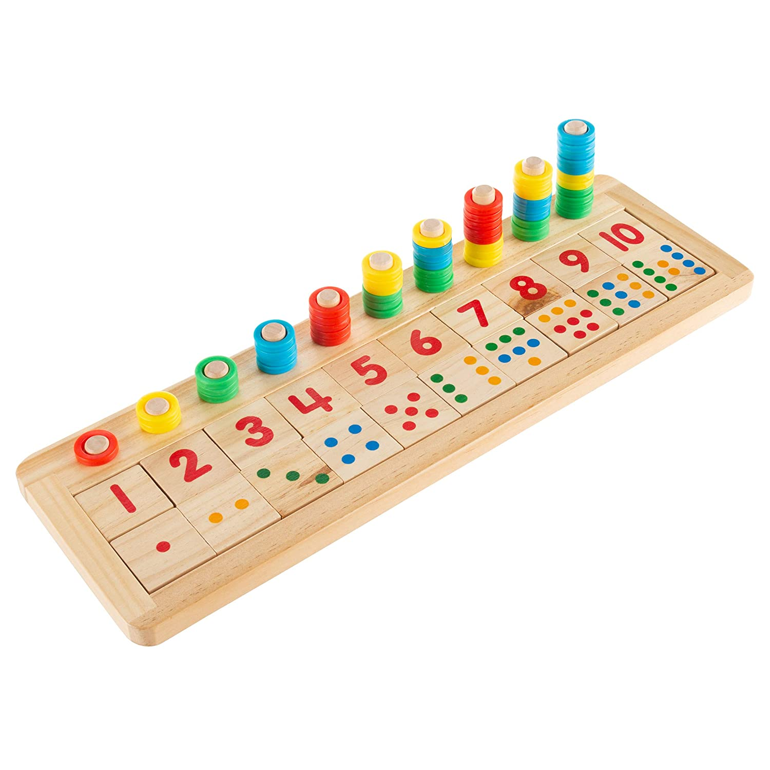 Hey Play Montessori Math Sorter Wooden Board with Pegs Number Blocks Colorful Stacking Rings Preschool Educational STEM Counting Game for Kids