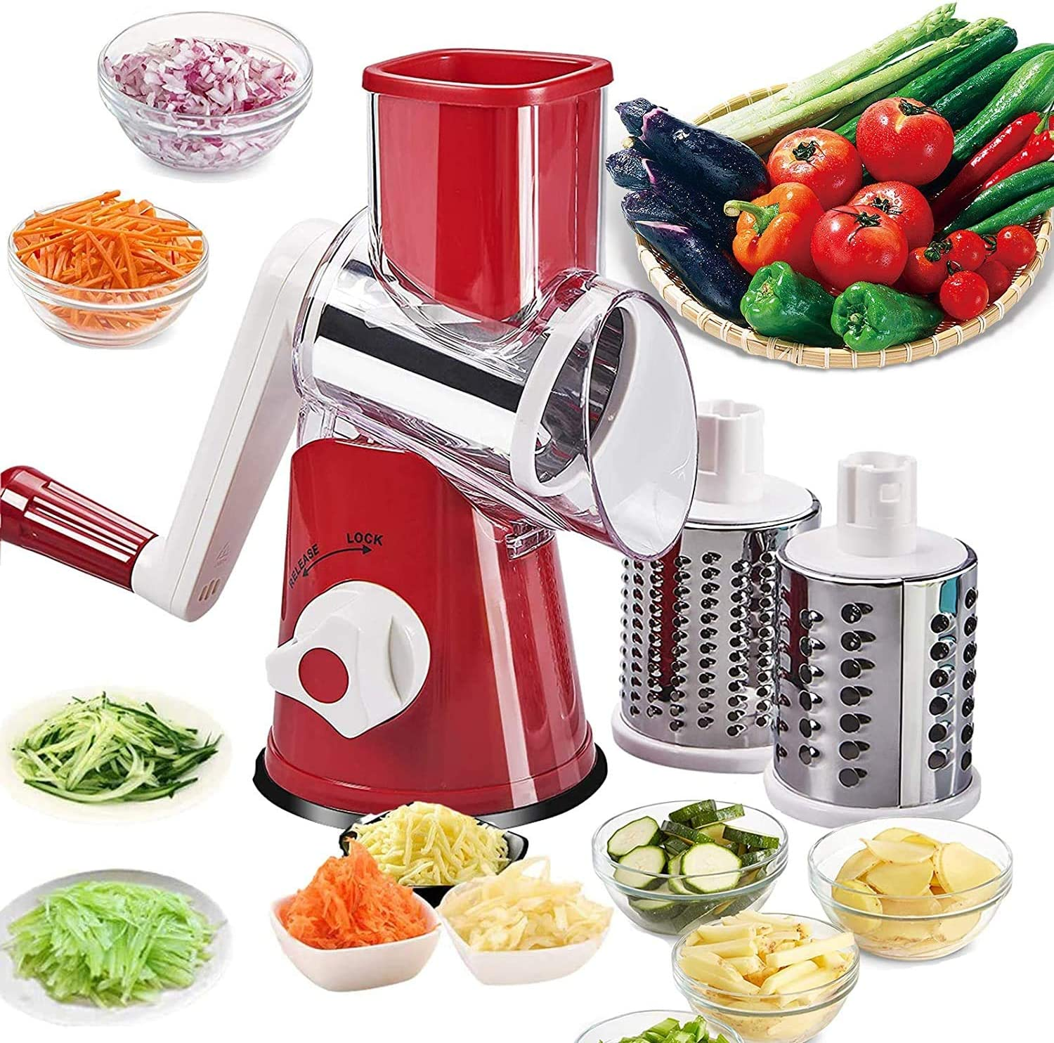 Vegetable Slicer, Manual Rotary Grinder, Hand-operated Kitchen Appliance for Dicing, Slicing and Chopping Food,with Powerful Suction Cup, Vegetables, Fruits, Grinder, Cheese Chopper (Red)