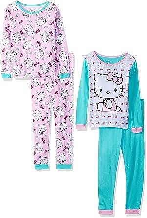 7203753f9 Sanrio Baby Girls Hello Kitty 4-Piece Cotton Pajama Set, kitty white, 12M