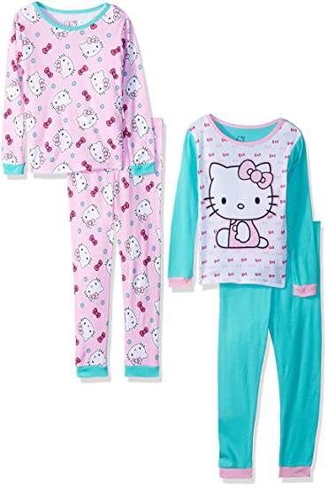 b583f52ad Amazon.com  SANRIO Girls  Hello Kitty 4-Piece Cotton Pajama Set ...