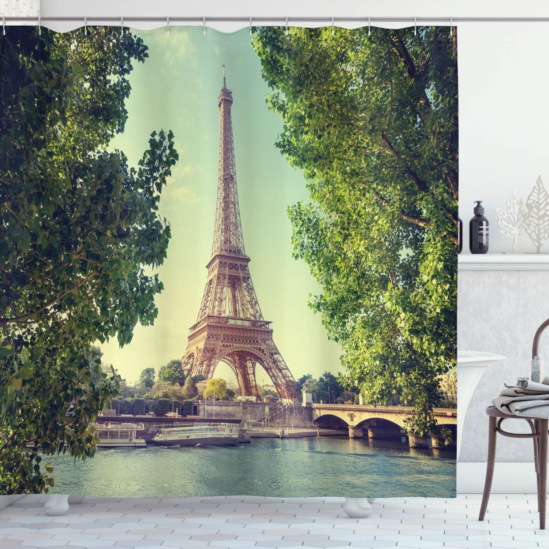 Ambesonne Paris Shower Curtain, Eiffel Tower Seine River Picture France European Landmark Image, Cloth Fabric Bathroom Decor Set with Hooks, 70