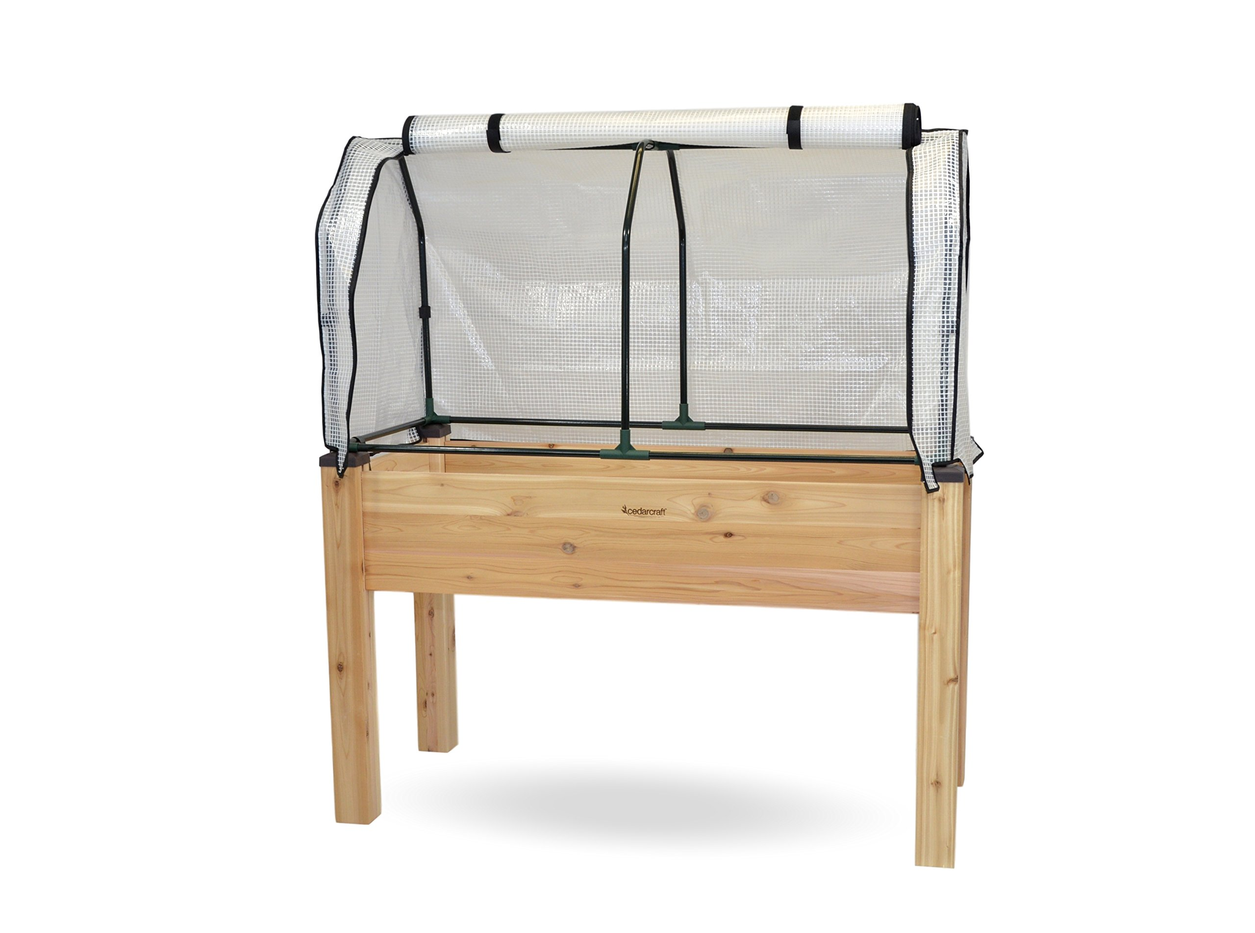 """CedarCraft Elevated Cedar Planter (23"""" x 49"""" x 30''H) + Greenhouse Cover - Complete Raised Garden kit to Grow Tomatoes, Veggies & Herbs. Greenhouse extends Growing Season, Protects Plants …"""