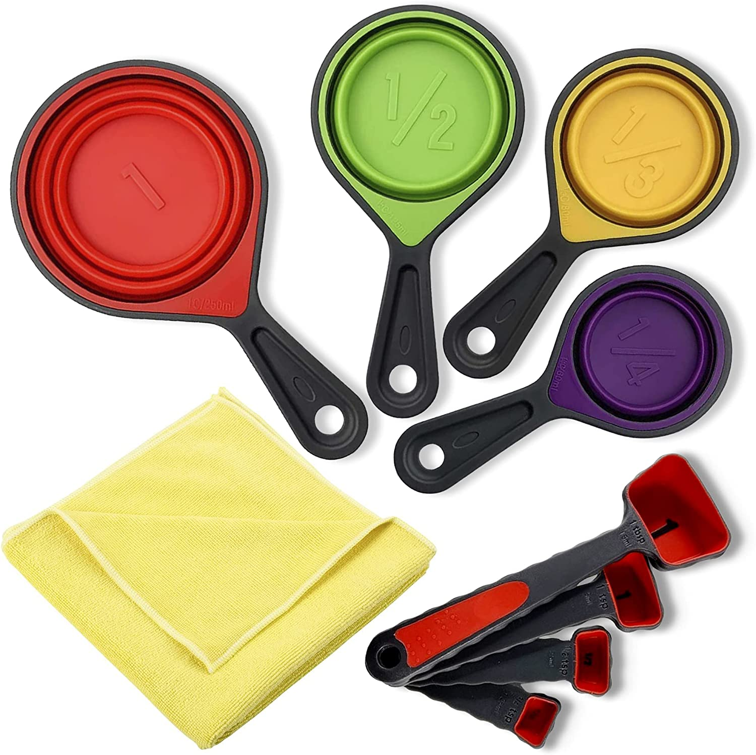 Collapsible Measuring Cups – Set of Silicone Measuring Cups with Spoons – Food-Grade Silicone Baking Utensils Set – Easy to Store and Dishwasher Safe – Measure Cups for Liquid and Dry Food