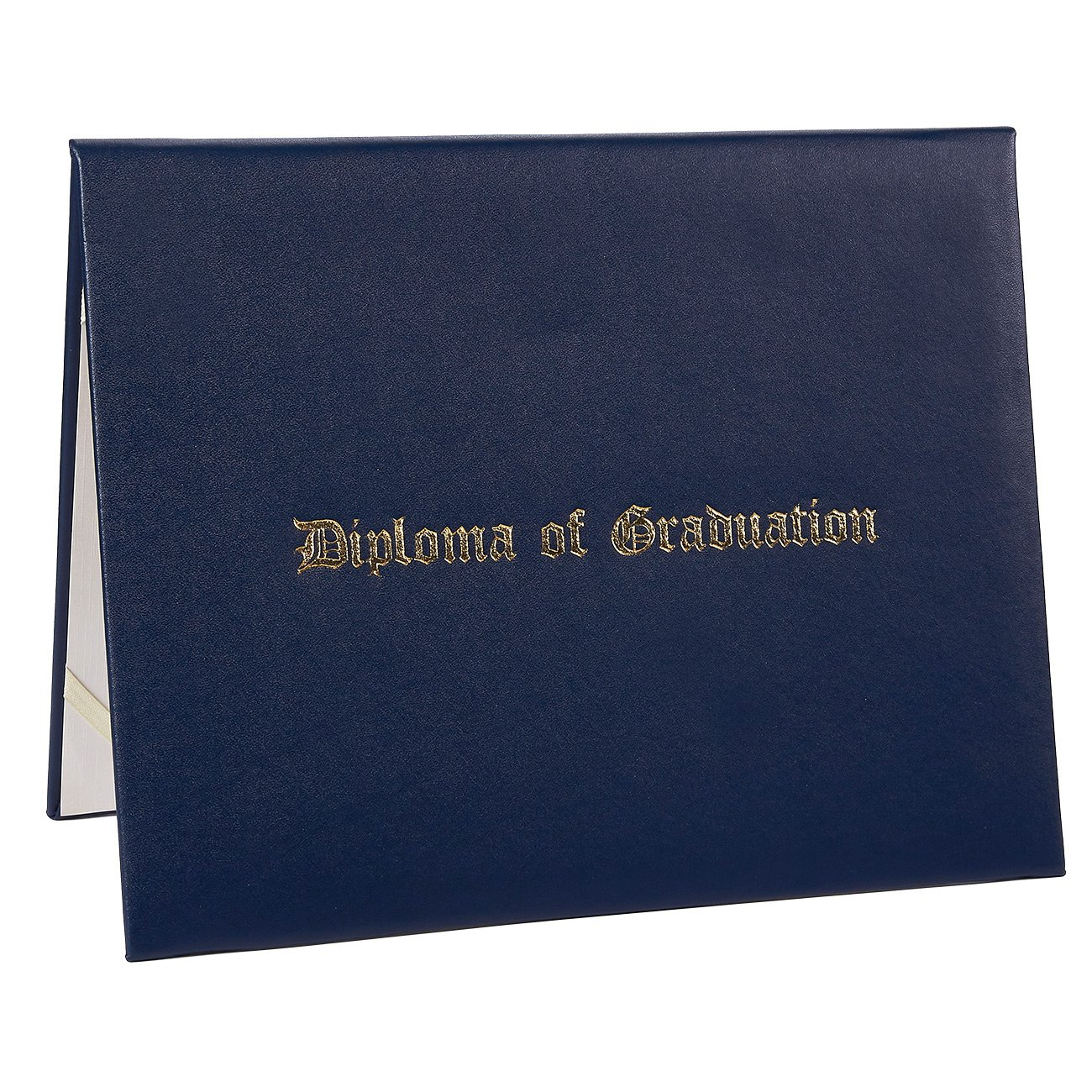 Diploma Cover - Certificate Holder with Diploma of Graduation Gold Foil Imprint, Document Cover for Letter-Sized Award Certificate, 4 Corner Ribbons, Navy Blue Faux Leather, 11.5 x 9 Inches