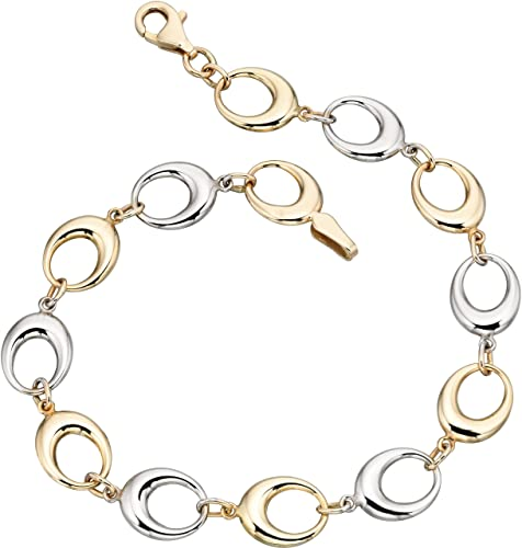 Elements Gold Ladies 9ct Yellow Gold White Freshwater Pearl Link Bracelet of Length 19cm 16SJchA