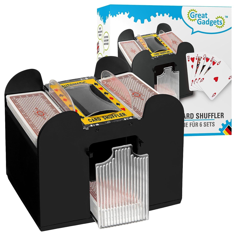 GreatGadgets 2128 6-Cubierta Mezclador de cartas automático Negro