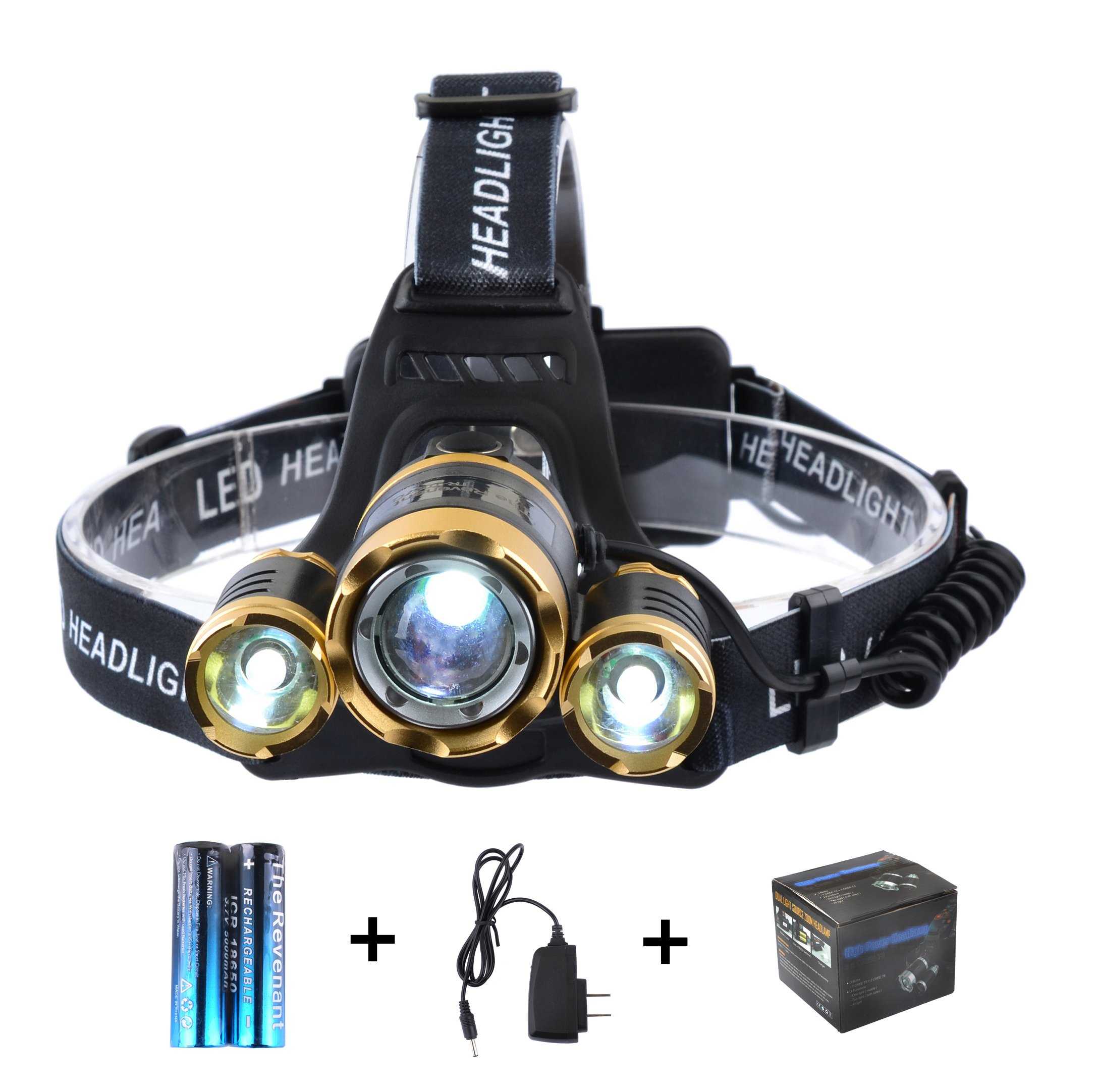 The Revenant LED Headlamp, Super Bright Headlight 5000 Lumens 4 Modes 3 CREE XM-L T6 Zooomable Waterproof, Rechargeable Battery & Charger