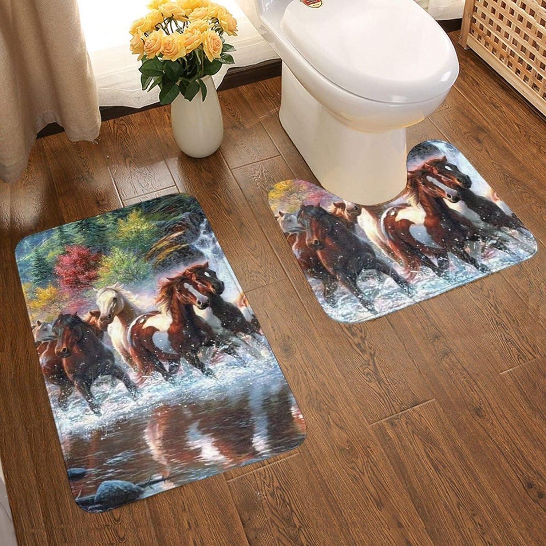 Alfombra de baño de indios nativos americanos indios caballos baño antideslizante almohadilla cubierta de inodoro suave franela antideslizante 2 piezas