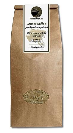 Grüner Kaffee gemahlen - Indien Robusta (Rohkaffee gemahlen 1000g)