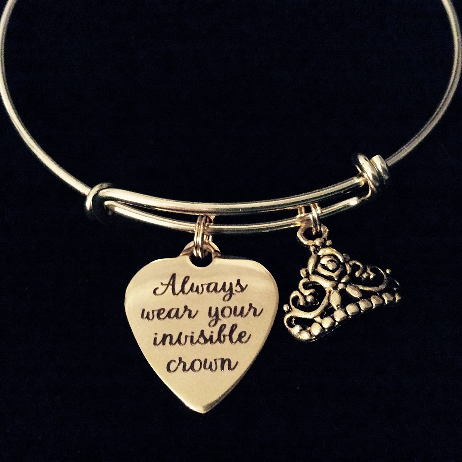 Always wear your Invisible Crown Bracelet Inspirational Quote Gift for Daughter Birthday Silver Charm Tiara Bangle Motivational Jewelry