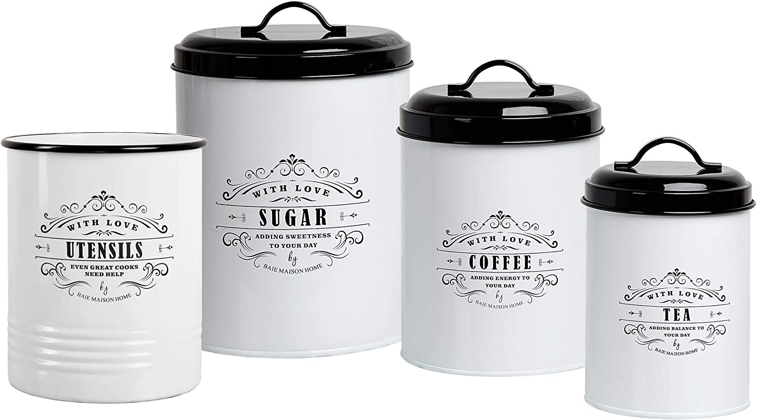 Baie Maison Large Kitchen Canisters Set of 3 - Farmhouse Canister Sets for Kitchen Counter White - Coffee Tea Sugar Container and Matching Kitchen Utensil Holder for Countertop Cooking Utensils Caddy