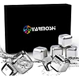 YARMOSHI 8 Stainless Steel Ice Chilling Cubes & Tongs| Non-Diluting & Rust Proof Sipping Rocks Dishwasher Safe| Ideal For Whiskey, Scotch, Soft Drinks, Wine, Vodka & More| Best Father Day Gift