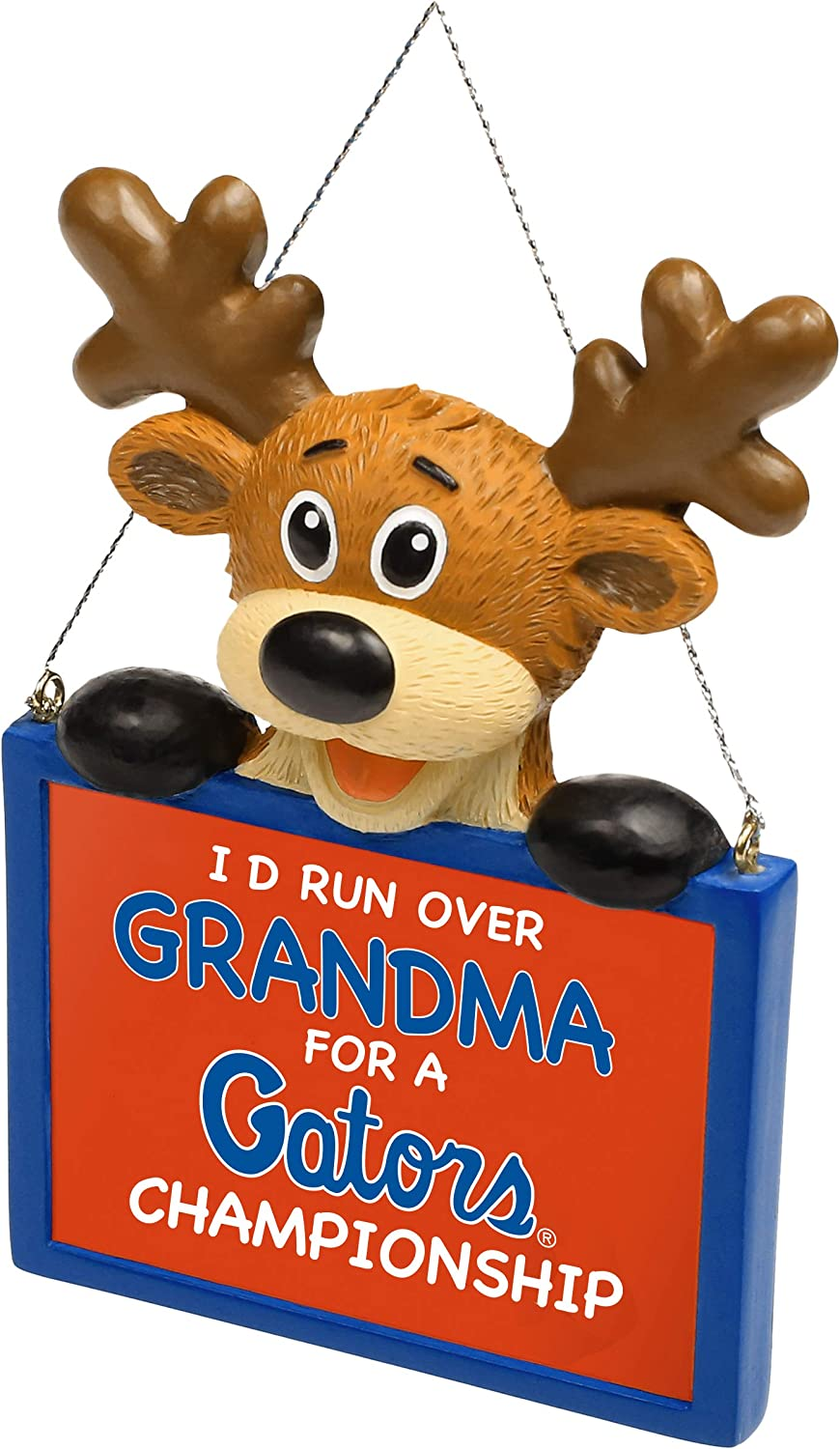 FOCO NCAA Reindeer with Sign Id Run Over Grandma for a Championship Resin Christmas Tree Ornament-4