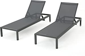 Christopher Knight Home Cape Coral Outdoor Aluminum Chaise Lounges with Mesh Seat, 2-Pcs Set, Grey / Dark Grey