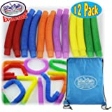 Matty's Toy Stop Pull 'N Pop Multi-Color Tubes (Toobs) with Storage Bag - 12 Pack