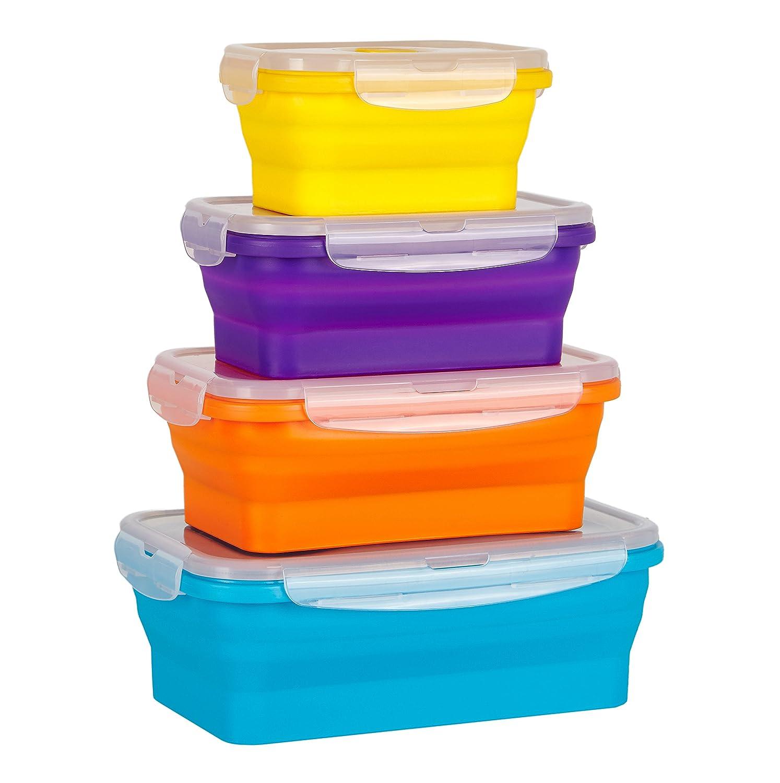 Flat Stacks Collapsible Silicone Food Kitchen Storage Containers | Space Saving | BPA Free | Air-tight | Leak proof | Microwave, Fridge, Freezer & Dishwasher Safe | Multicolour 4 Pack - Medium Rectangular | The Original Flat Stacks Food Boxes