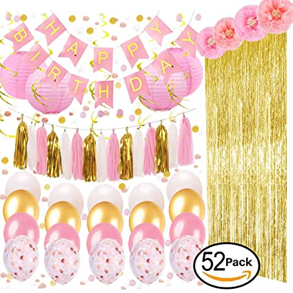 OUGOLD Foil Fringe Curtains Pink Gold Party Decorations Happy Birthday Banner Tassels Pom Poms Paper Flowers