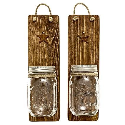 Amazon.com: Heartful Home Decor Ball Mason Jar Wall Sconces ...