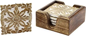 """SAM + Ollie Boho Wood Coasters with Holder - Set of 6 Handmade Carved Wooden Absorbent Cold Drink or Hot Coffee Coasters, 4 Inch Squares  <p>"""" /></a></div> <div class="""