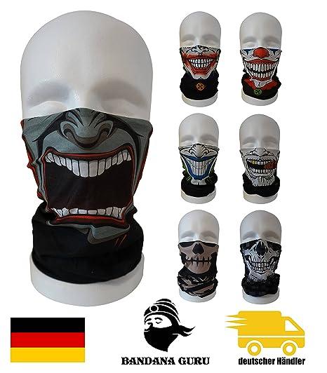 BandanaGuru máscara de joker motocicleta, máscara de cráneo tubo multifuncional para paintball/bicicleta/