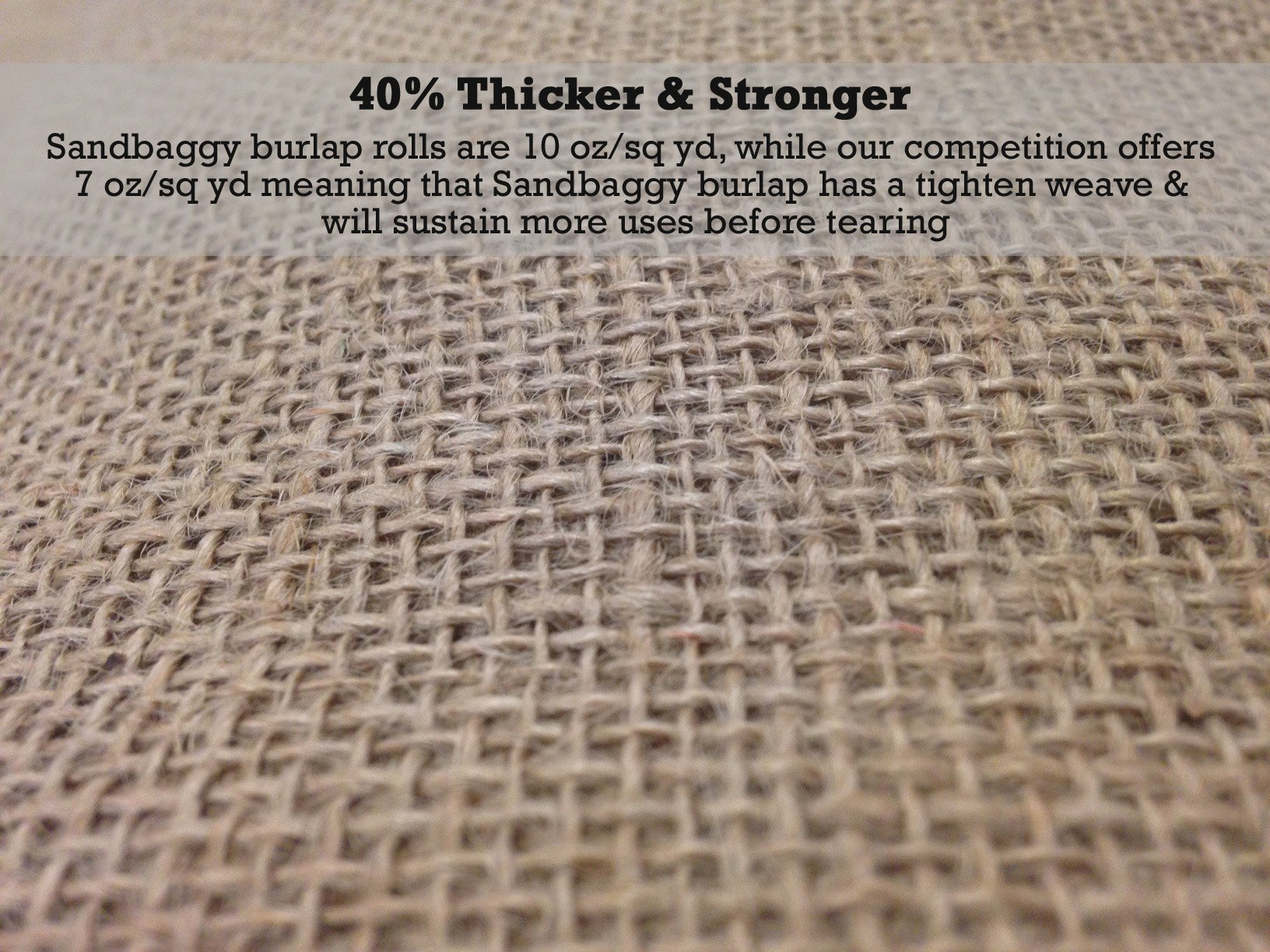 Sandbaggy Burlap Fabric Roll- for Garden, Yard, Wedding, Craft, Decorating Tables - 40 inch x 300 ft (1) by Sandbaggy (Image #4)
