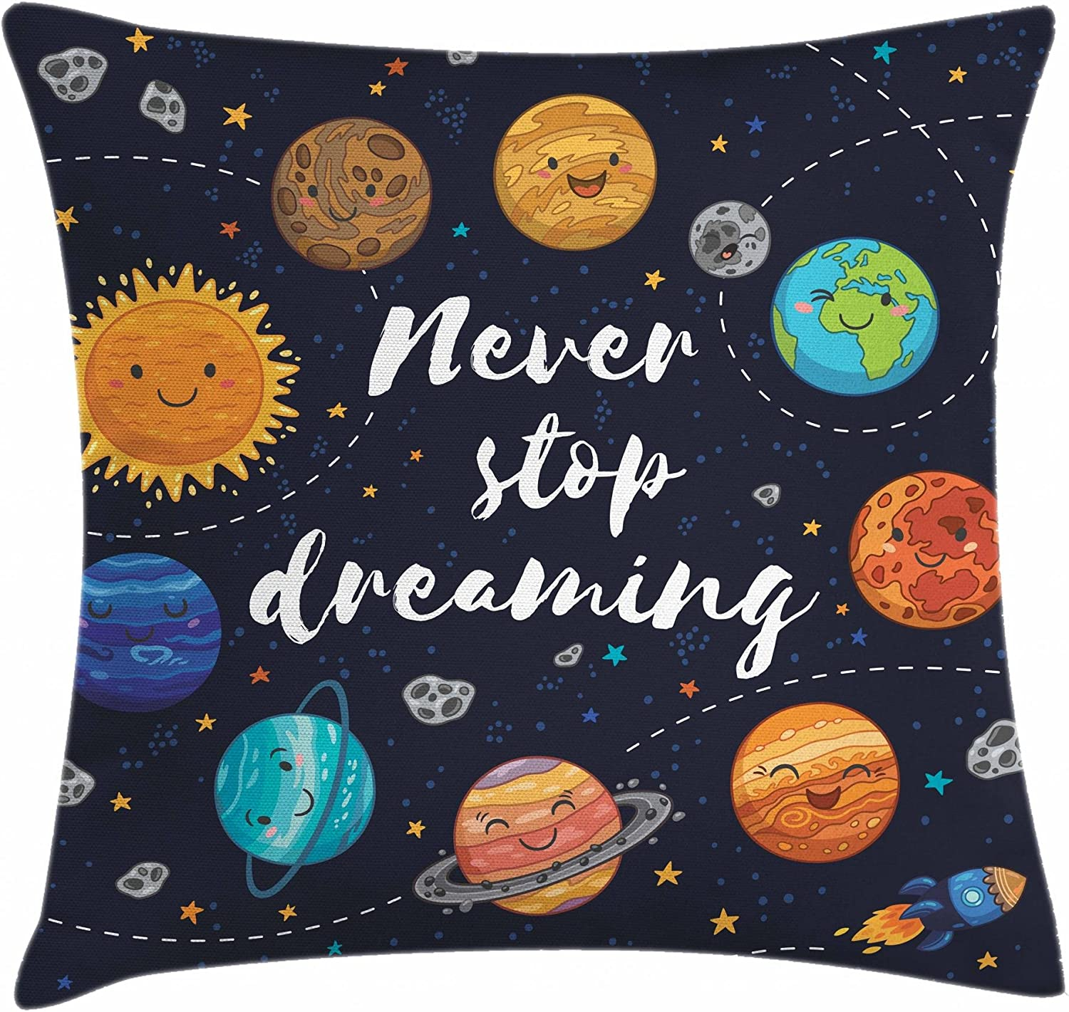 """Ambesonne Saying Throw Pillow Cushion Cover, Outer Space Planets Star Cluster Solar System Moon Comets Sun Cosmos Illustration, Decorative Square Accent Pillow Case, 16"""" X 16"""", Navy Orange"""