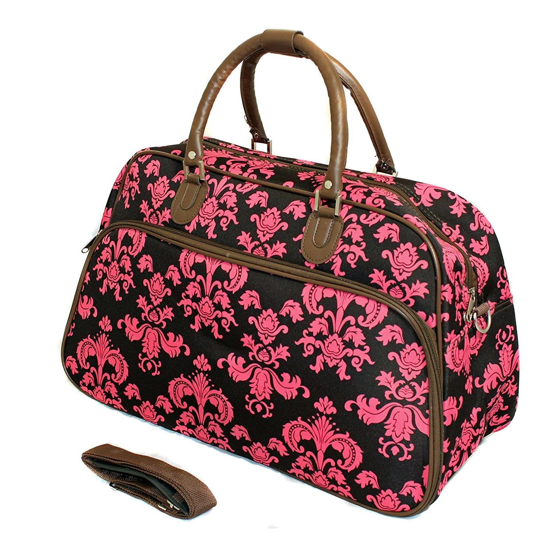 Polyester Pink Flora Duffel Geometric White Travel Medallion Motif Bohemian Boho Chic 1pc Brown Damask Carry Duffle Bag