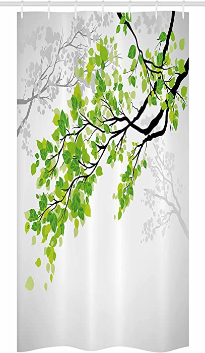 Ambesonne Nature Decor Stall Shower Curtain, Twiggy Spring Tree Branch with Refreshing Leaves Summer Peace Woods Graphic, Fabric Bathroom Decor Set with Hooks, 36