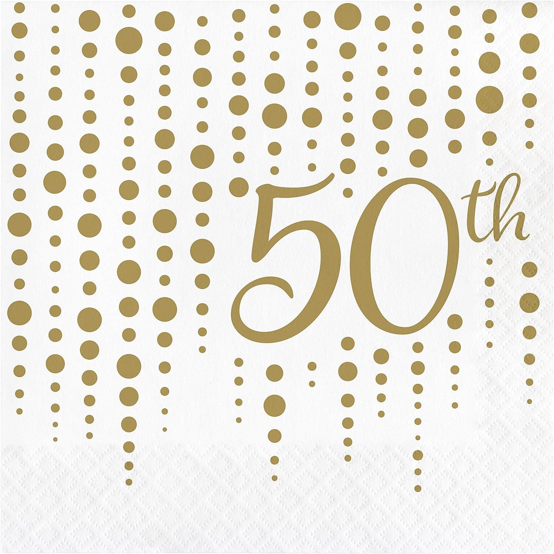Gold 50th Anniversary Napkins, 48 ct