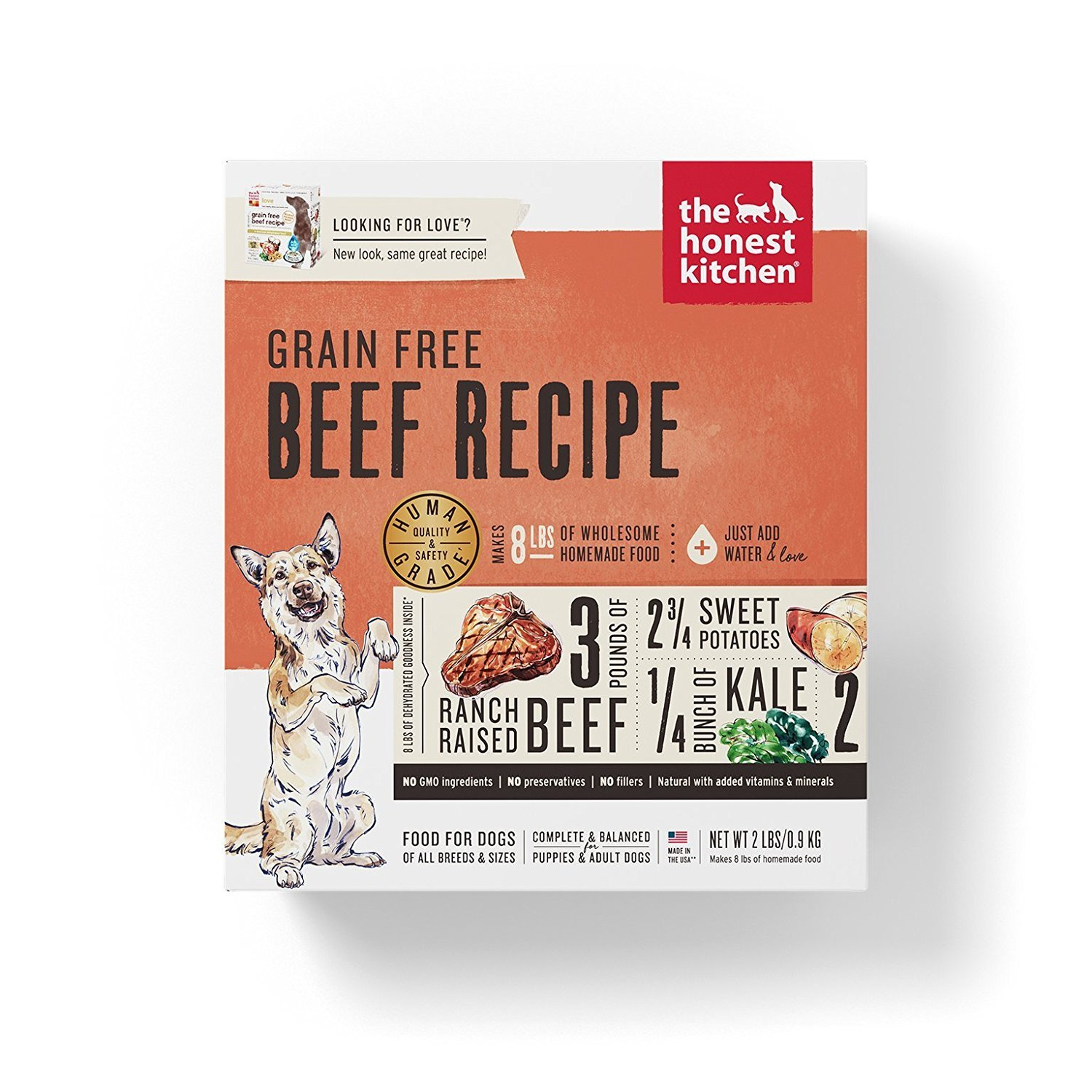 Honest Kitchen The Human Grade Grain Free Beef Dehydrated Dog Food, Love 2 lb