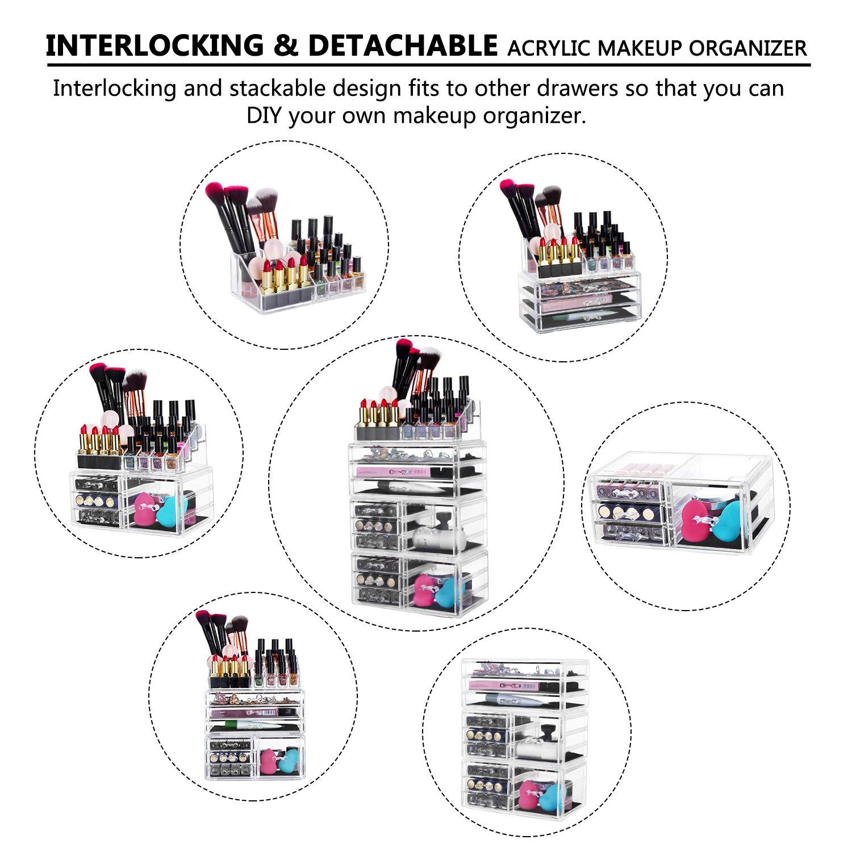 hblife Maquillage Organisateur cosm/étiques Acrylique tiroirs de Rangement bo/îte daffichage de Bijoux avec