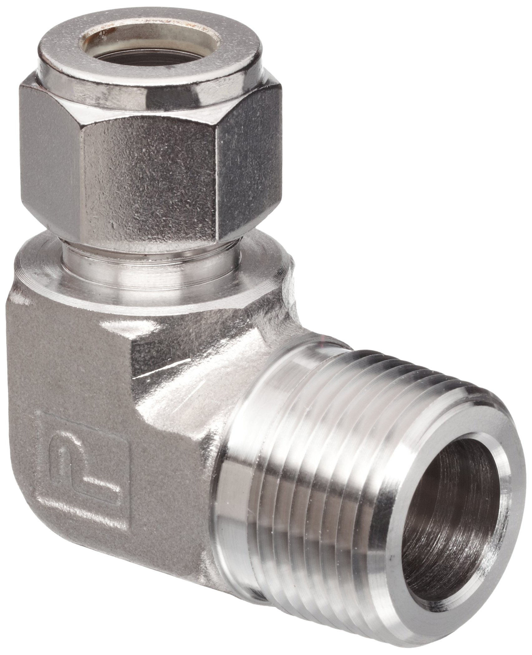 Parker A-Lok 2MSEL4N-316 316 Stainless Steel Compression Tube Fitting, 90 Degree Elbow, 1/8'' Tube OD x 1/4'' NPT Male
