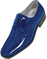 Viotti Mens Royal Blue Dress Oxford with Striped Satin and Patent Trim : Style 179 Royal Blue-052