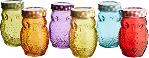 Style Setter 206242-6GB Owl Colors 6 Piece Glass Jar Set- Glass Canister with Airtight Metal Lids, Multi Colors,